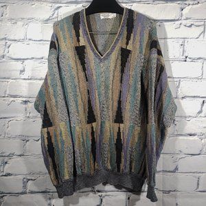 VTG 1990s Abstract Knit Sweater V-Neck Pullover Made USA Coogi-Style